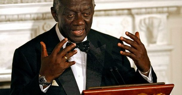 WASHINGTON - SEPTEMBER 15:  (AFP OUT) Ghana President John Kufuor delivers a speech and toast during a state dinner in his honor at the White House September 15, 2008 in Washington, DC. Kufuor is on a three-day state visit to the United States.  (Photo by Chip Somodevilla/Getty Images)