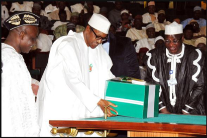 File: Buhari during the 2016 budget presentation to the National Assembly.