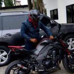 Video -President Mahama rides in town on motorbike