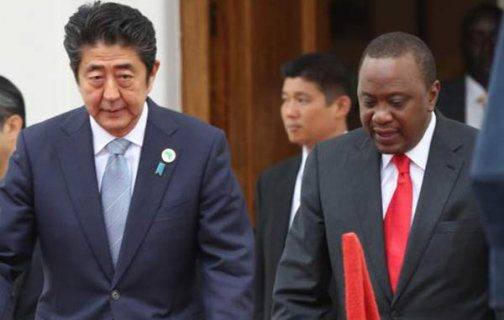 Japan's Prime Minister Shinzo Abe at State House Nairobi where he meet Presidet Uhuru Kenyatta